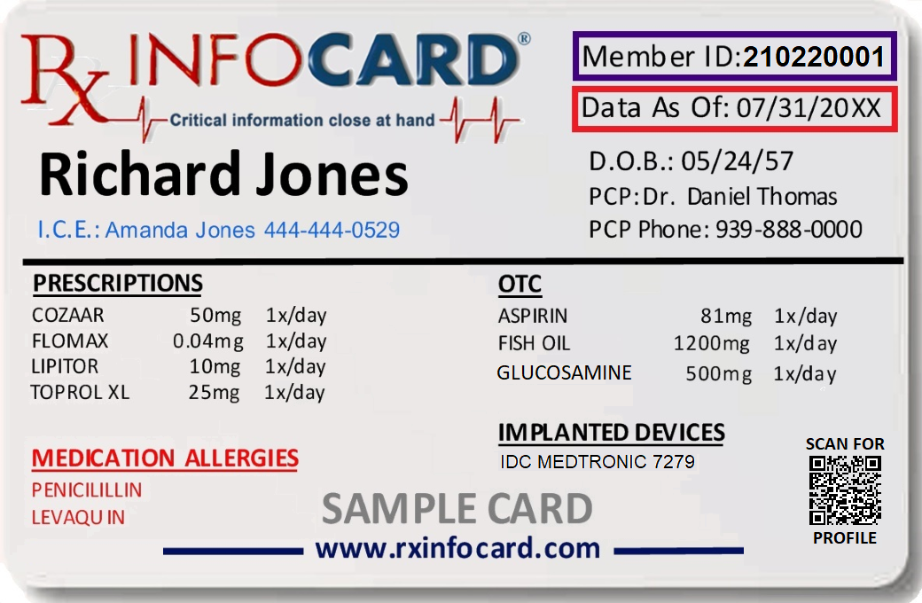 Rx InfoCard lists your perscription medications